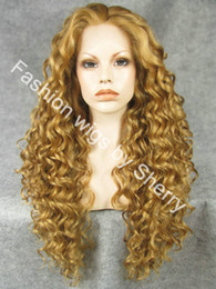 """Discount extra long lace front wigs - 26"""" Extra Long #27HY 10 Mix Blonde Heat Friendly Lace Front Synthetic Hair Curly Wig"""