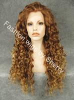 ingrosso parrucche ricci lunghe auburn-Parrucca riccia parrucca sintetica acconciatura ricamata in pizzo sintetico per capelli lunghi fino a 30 # 27 / 27R