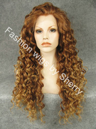 """extra long lace front wigs 2019 - 26"""" Extra Long #30 27R Auburn & Blonde Mix Heat Friendly Synthetic Hair Lace Front Curly Wig"""
