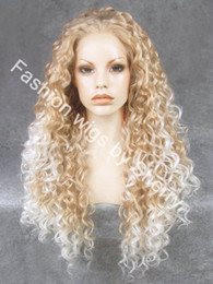 """Wholesale long white wig curly - 26"""" Extra Long #27HY 1001 Blonde Tip-white Heat Friendly Synthetic Hair Lace Front Curly Wig"""