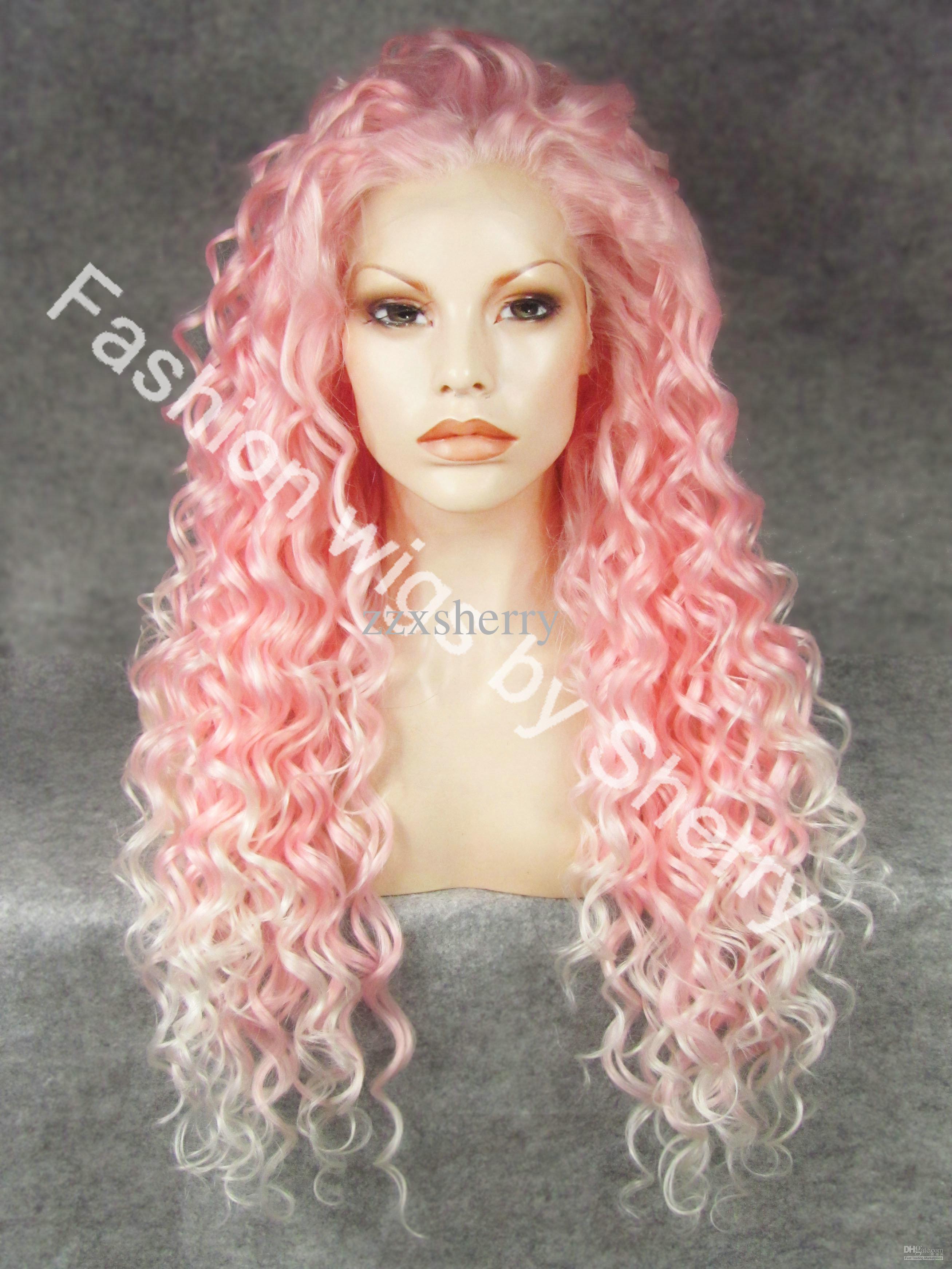 "26"" Extra Longo # 3100B / 1001 Rosa Tip-branco Curly amigável calor Synthetic Cabelo Partido da Frente Lace Wig"