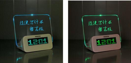 보드 시계 전자 시계 프로젝션 알람 Quieten은 다기능 발광 네온 메시지를 잃어 버렸습니다.