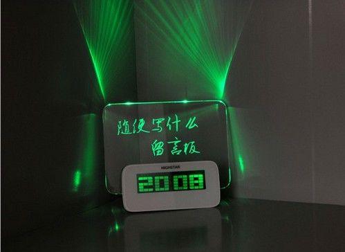 Tahta saat elektronik saat projeksiyon alarmı Susturmak lounged fonksiyonlu ışık neon mesaj