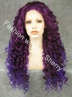 perruque mélange bleu violet achat en gros de-Perruque de partie avant en dentelle synthétique 26