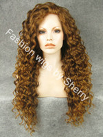 "Wholesale Extra Long Lace Wigs - 26"" Extra Long #10 27R Mix Blonde Curly Heat Friendly Synthetic Hair Lace Front Party Wig"