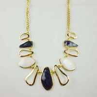 Wholesale Big Chunky Bubble Necklace - Vintage Big Stone Chunky Chain Gold Plating Pendant Statement Bubble Necklace 4 Colors Freeshipping