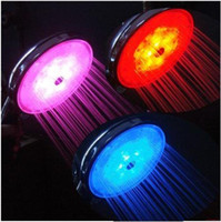 Wholesale 10pcs Color LED Light Shower Head Water Temperature Sensor Changing Automatic Control Sprinkler