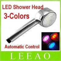 Wholesale Best Led Shower Heads - BEST 20pcs 3 Color LED Light Shower Head Water Temperature Sensor Changing Automatic Control Sprink