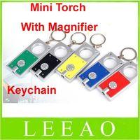 Wholesale Mini Flash Light Key Chain - Lowest price 200pcs lot Mini Keychain Gift Torch Flash light With Magnifier Bright 1 LED Flashlight