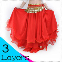 Wholesale Belly dance Costume Three layers Chiffon Pleated Frillies skirt Colours
