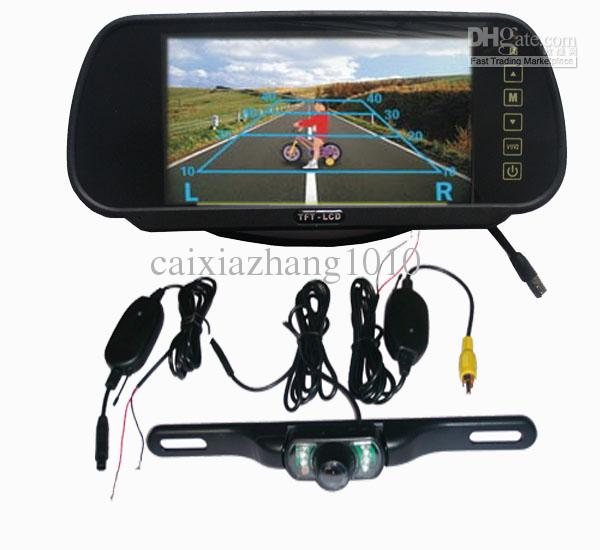 7 lcd monitor car rear view mirror kit wireless 2 4ghz. Black Bedroom Furniture Sets. Home Design Ideas