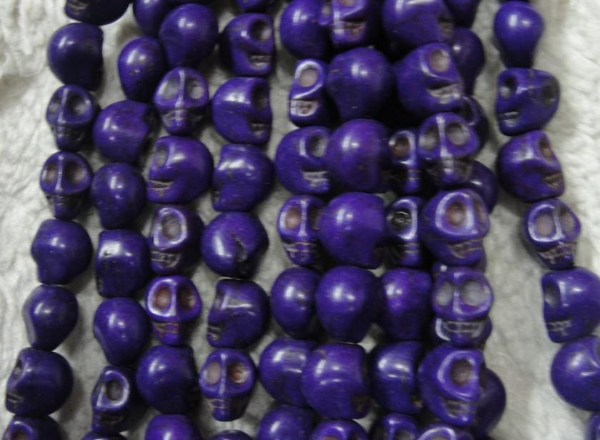 Colorido 10mm crânio turquesa solta pérolas DIY Pulseira colar