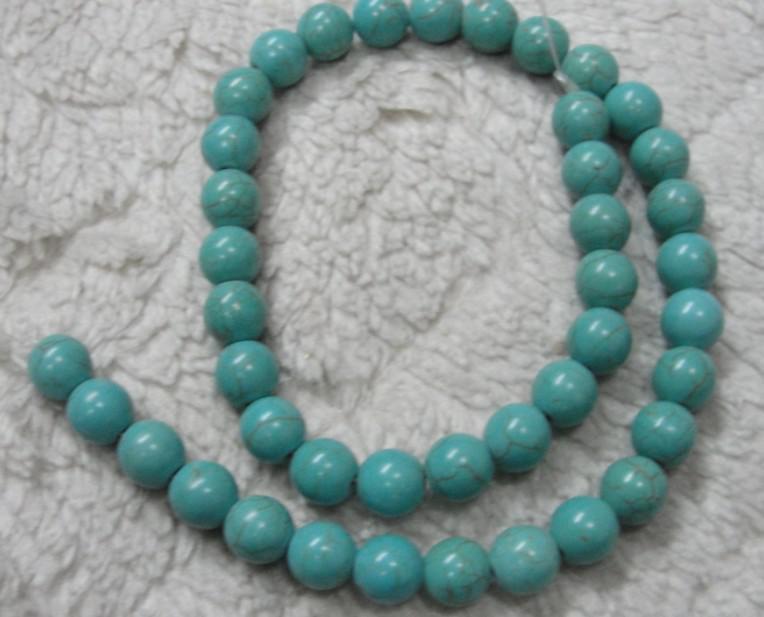 Bei colori 10mm di pietra naturale sciolto perline turchese borda DIY Bracciale collana
