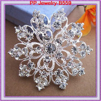 Wholesale Elegant Flower Brooch Pin - High Quality Elegant Austrian Crystals Big Heart Flower Brooch For Wedding Exquisite Women Wedding Broach Popular Lady Hijab Pins