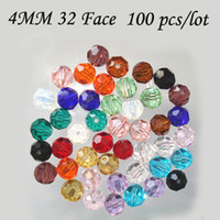 Wholesale Cheapest Crystal Letters - Cheapest 4MM 100PCS LOT 32 Faced Round Crystal Bead for DIY Necklace Accesseries