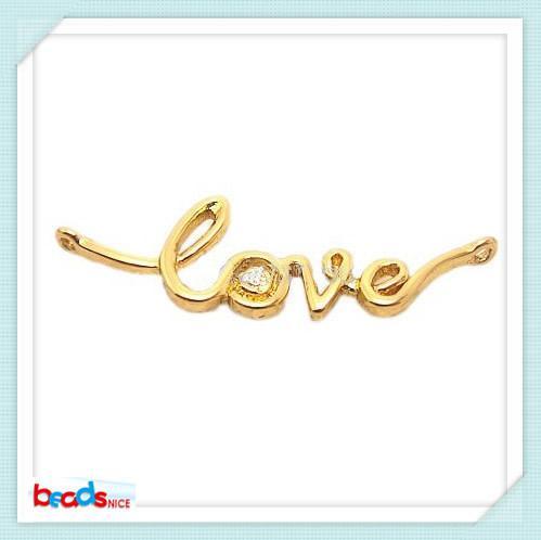 BeadsniceID24365 18 K altın kaplama aşk takı bağlayıcı 20 adet / grup
