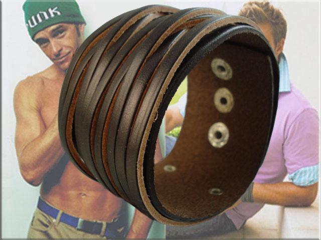 Braccialetto di cuoio degli uomini punk di modo, braccialetto di cuoio intrecciato, monili / del cuoio degli uomini