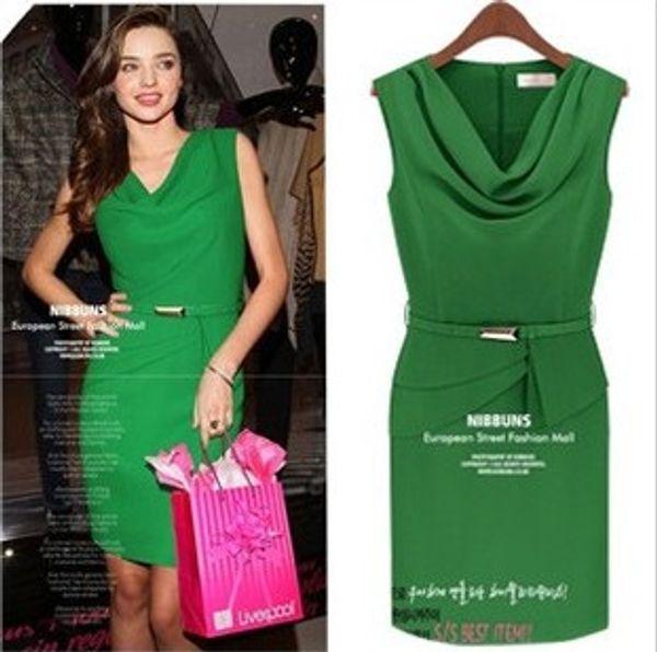 2016 Summer Dress Hot fashion western women Bodycon chiffon dress summer V-neck Green pencil dress party dress women's dress
