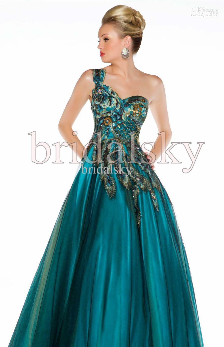 One Shoulder Peacock Appliques Crystals Tulle A Line Floor Length