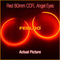 FEELDO Ultra Rouge 80mm Voiture CCFL Phare LED Halo Anneau Ange Yeux Lampes d'avertissement SKU #: 3895