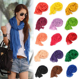 Wholesale Crinkled Scarfs - Lot 5 pcs Girl Women's Large Cotton Linen Long Crinkle Scarf Wraps Shawl Colorful Candy
