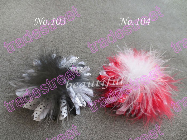 Free shipping 35pcs 3.5'' feather corker hair bows (SEW ones) korker hair clip korker bows