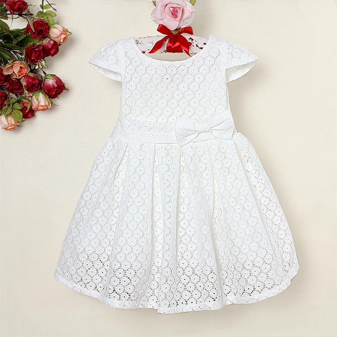 2017 Wholesale Kids Summer Lace Dresse Girl White Dress Children ...