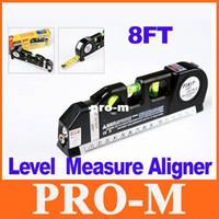 Wholesale Horizon Vertical Laser - Multipurpose Laser Level Horizon Vertical Measure Tape Aligner 8FT Freeshipping Dropshipping
