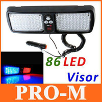 Wholesale Strobe Led Visor - Super Bright 86 LED Car Truck Visor Strobe Flash Light Panel, warning lighting,4 colors choice,free