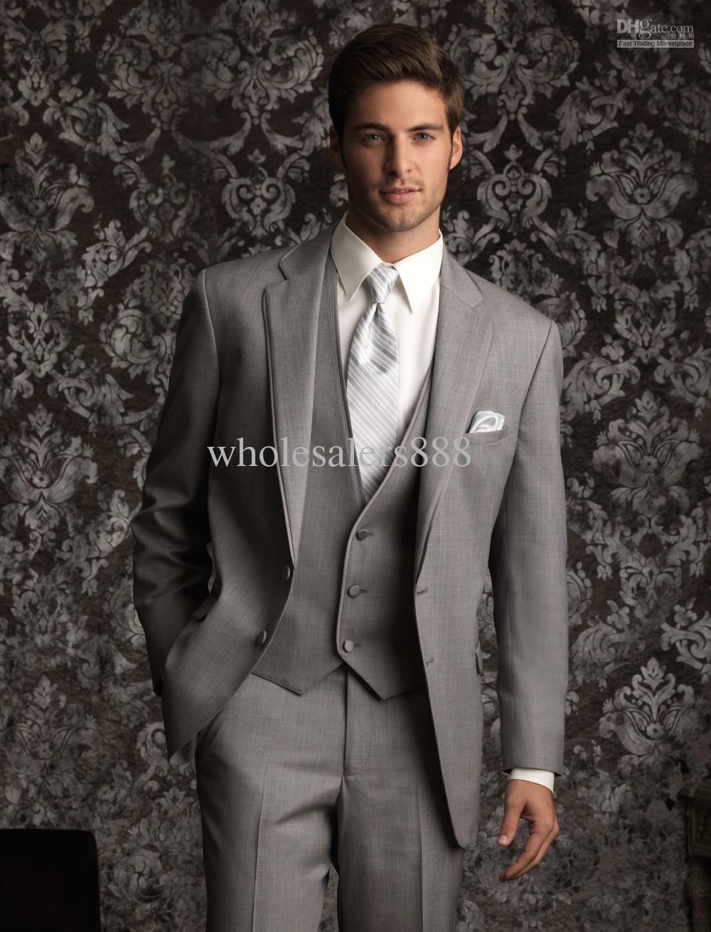 f7108407c95c New Style Grey Groom Tuxedos Groomsmen Notch Collar Men Wedding  SuitsJacket+Pants+Tie+