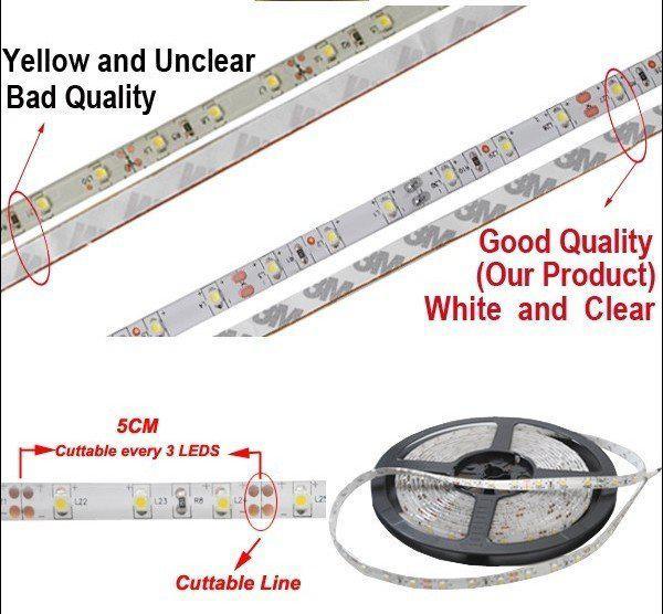 5 M Brilhante Ultra-Branco LED Luz de Tira 3528 SMD Impermeável Flexível 300 LEDs Branco Quente Única Cor com Conector de Alimentação 12 V 2A