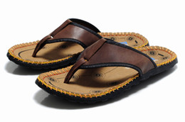 cowhide flat flip flops Coupons - 2013 New whole cowhide Men leather slipper bionic flip flops noble advanced slippers free shipping