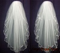 Wholesale Cheap Lace Scarves - Hot Cheap 2 Layers White ivory Wedding Bridal Tiara Pearl Beads Veil Scarf Shawl With Comb