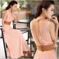 koreanische neue mode abendkleid großhandel-2013 neue dame sommer chiffon kleid abend maxi mittel lange kleider damenmode neuheit koreanisch plus größe kleider 3 farbe