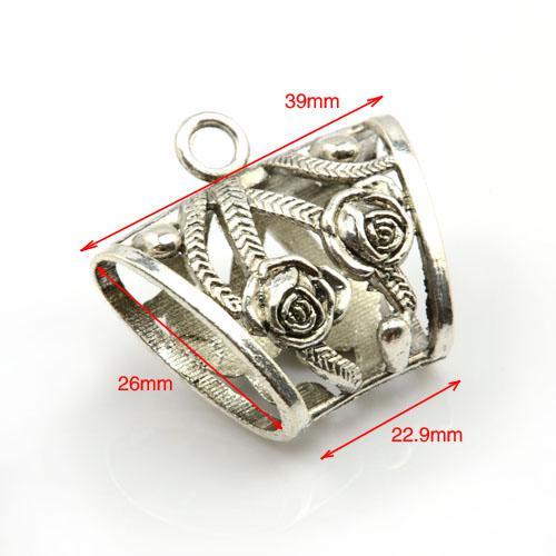20 stks / partij, DIY Sjaal Hangers Charme Zinklegering Slide Holding Tube Rose Design, Gratis Verzending, AC0009