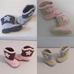 Wholesale Baby Cowboys Boots - crochet Baby Cowboy or Cowgirl Boots! Baptism Shoes Footwear cheap shoes baby shoes shoes sale china shoes cotton yam!6pairs (12pcs)