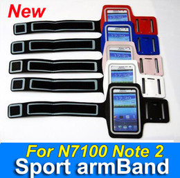 Wholesale Sports Armband Leather Jacket Case - By DHL leather Sport Arm Band glow in dark For Samsung Galaxy N7100 note 2 Jacket case cover armband