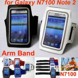 Wholesale Note Ii Leather Case - Free shipping Sports armband leather Jacket case cover arm Band for Samsung Galaxy note II N7100
