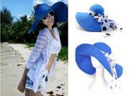 Wholesale Womens Wholesale Large Brim Hats - 14color Womens Beach Sun cap Straw hats Wide Large Brim Summer hats 10pcs