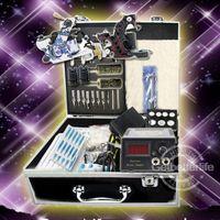 Wholesale Tattoo Equipment Complete Kit - USA Dispatch Complete Beginner Tattoo Kit 2 Machines Guns Needles Tips Grips LCD Power Set Equipment supplies