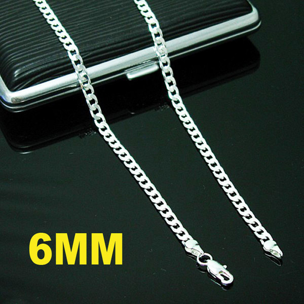 New 925 Silver Necklace 6MM Men's Curb Chain Necklace 20inch Fashion Men's Necklace Jewelry Free Shipping