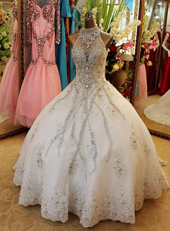 New arrival bling bling crystals luxury v neck handmade for Blinged out wedding dress
