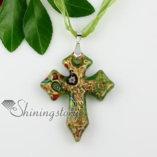 cross glitte millefiori lampwork murano Italian venetian handmade glass necklaces pendants Fashion pendant necklace Mup1882YH2