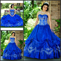 Wholesale Strapless Sweetheart Neckline Quinceanera Dress - Unique Embroidery Iridescent Taffeta Quinceanera Dresses Strapless Sweetheart Neckline And Zip Back