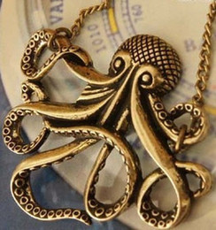 Wholesale Octopus Pendant Necklace - New Fashion Jewelry Retro Vintage Bronze Octopus Pendant Necklace Sweater Chain Free shipping #5028