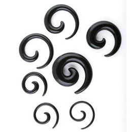 Wholesale Taper Sizes - Ear tunnel (P31) 100pcs mix 8 size black acrylic body jewelry spiral ear taper ear plug