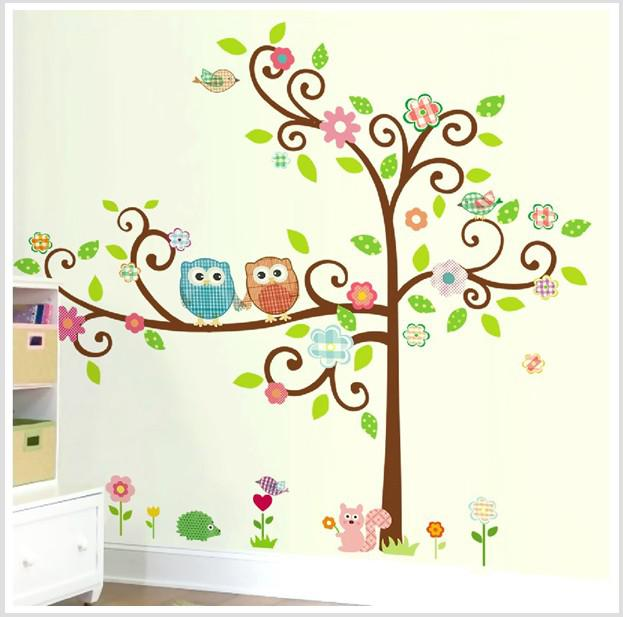 Large Scroll Tree Wall Decal Art Vinyl Nursery Stickers Removable - Kids tree wall decals