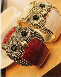 Wholesale Wood Owl Bracelets - Stylish Colorful punk Metal Enamel Retro Tone Owl Open Hand Bangle Bracelet Cuff Gift #5044