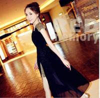 Wholesale Black Dress Shoulder Pads - 2016 Summer Maxi Long Dress Fashion Bohemia women's A-line dress elegant black chiffon dress with shoulder pad