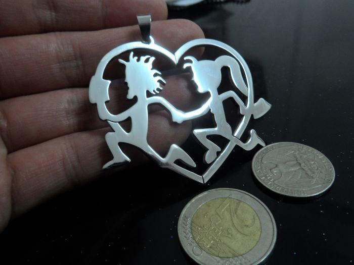 haute polie 100% en acier inoxydable grand 62 * 51mm hachette homme femmes pendentif coeur, nouveaux cadeaux